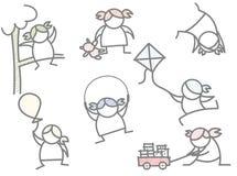 Reeks van blije het spel van het meisjesjonge geitje royalty-vrije illustratie