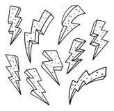 Reeks van blikseminslag in de vectorillustratie van de krabbelstijl royalty-vrije illustratie