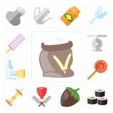 Reeks van Bloem, Sushi, Hazelnoot, Slager, Apple, Jawbreaker, Zuivelfabriek royalty-vrije illustratie