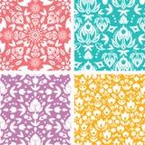 Reeks van bloemen abstract naadloos patroon vier Stock Afbeeldingen
