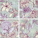 Reeks van 4 Bloemen Naadloze Patronen met getrokken hand  Stock Afbeelding