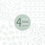 Reeks van 4 bloemen naadloze patronen op witte achtergrond Stock Afbeeldingen