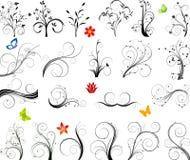 Reeks van bloemenelementenvector Stock Afbeeldingen