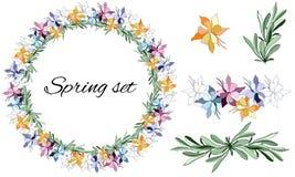 Reeks van bloemenpatronen Vectorkroon van kleurrijke bloemen en groene bladeren Vectorborstels voor het verfraaien van kaarten, o royalty-vrije illustratie