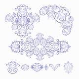 Reeks van bloemenpatroon blauw wit Vector illustratie Royalty-vrije Stock Afbeeldingen