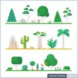 Reeks van bomen, rotsen, struiken en gras Vector Illustratie