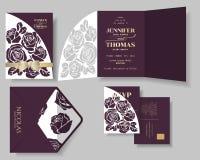 Reeks van Bourgondië Rose Laser Cut met Gouden de Uitnodigingskaart van het Linthuwelijk vector illustratie