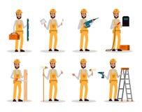 Reeks van bouwvakker De arbeidersmens met bouwhulpmiddelen in velen stelt royalty-vrije illustratie