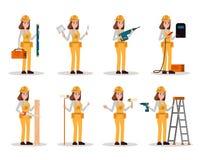 Reeks van bouwvakker De arbeidersvrouw met bouwhulpmiddelen in velen stelt stock illustratie