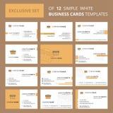 Reeks van 12 Breifcase Creatief Busienss Kaartmalplaatje Editable Creatieve embleem en Visitekaartjeachtergrond vector illustratie