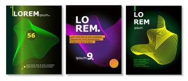 Reeks van brochure, jaarverslag, de malplaatjes van het vliegerontwerp met lijnvormen Vectorillustraties voor bedrijfspresentatie vector illustratie