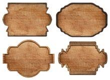 Reeks van bruin houten uithangbord, platen, planken en Stock Foto's