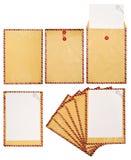 Reeks van Bruine Envelop Stock Afbeeldingen