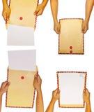 Reeks van Bruine Envelop Stock Foto's