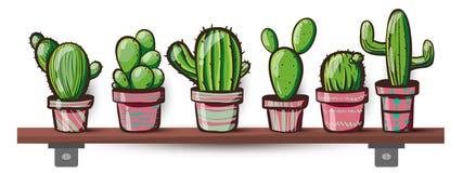 Reeks van cactus Kawaiicactussen vector illustratie
