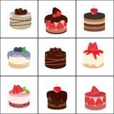 Reeks van cake vector illustratie