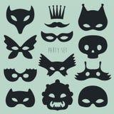 Reeks van Carnaval-Masker Vectorillustratie Royalty-vrije Stock Afbeeldingen