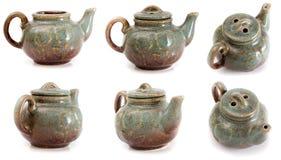 Reeks van ceramische ketel zes Royalty-vrije Stock Afbeeldingen