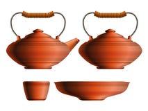 Reeks van ceramische theepot, suikerpot, kop en schotel stock illustratie