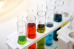 Reeks van Chemische buisontwikkeling en apotheek in laboratorium, bioc royalty-vrije stock foto's