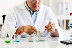 Reeks van Chemische buisontwikkeling en apotheek in laboratorium, biochemie en onderzoektechnologieconcept royalty-vrije stock fotografie