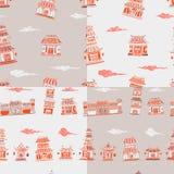 Reeks van 4 Chinees of Japans gebouwen naadloos patroon Stock Fotografie