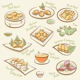 Reeks van Chinees voedsel. Stock Afbeeldingen