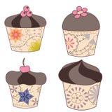 Reeks van chocolade cupcakes wijnoogst Stock Afbeeldingen