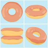 Reeks van Chocolade Donuts Royalty-vrije Stock Afbeeldingen