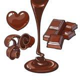 Reeks van chocolade - het hart vormde suikergoed, het scheren, bar, vloeistof stock illustratie