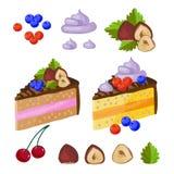 Reeks van chocoladesnoepjes, cakes en andere vectorillustratie van het chocoladevoedsel Stock Afbeeldingen