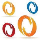 Reeks van cirkelpijlen met strepen Royalty-vrije Stock Afbeelding