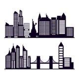 Reeks van cityscape met gebouwen stock illustratie