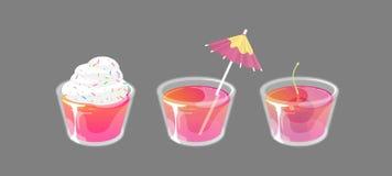 Reeks van cocktailgelei met bovenste laagjes wordt geschoten dat Het verse zoete concept van drankadvertenties Vector illustratie stock illustratie