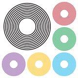 Reeks van concentrisch cirkels geometrisch element Zwarte en kleurrijke versie Vector royalty-vrije illustratie