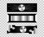 Reeks van concept van de 3 banner het abstracte technologie metaal hallo technologie fu Royalty-vrije Illustratie