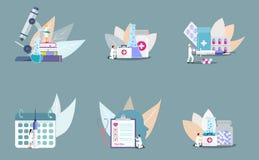 Reeks van concept kliniek stock illustratie