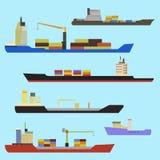 Reeks van containerschip royalty-vrije illustratie