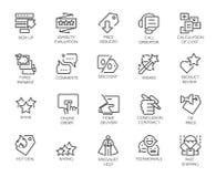 Reeks van 20 contourpictogrammen voor online of off-line opslag, onmiddellijke boodschapper, het boeken plaatsen en mobiele apps royalty-vrije illustratie