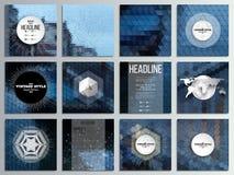 Reeks van 12 creatieve kaarten, vierkant brochuremalplaatje vector illustratie
