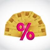 reeks van creditcards en een percentageteken Stock Afbeeldingen