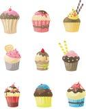 Reeks van cupcake Stock Afbeeldingen