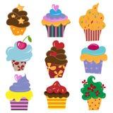 Reeks van cupcake Stock Fotografie