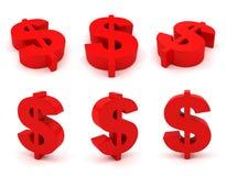 Reeks van 3D dollarteken Stock Foto