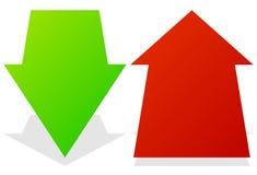 Reeks van 3d omhoog onderaan pijlen in perspectief Groene, rode pijlen vector illustratie