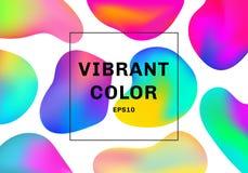 Reeks van 3D vloeibare of vloeibare achtergrond van de de elementen trillende kleur van de vormengradiënt royalty-vrije illustratie