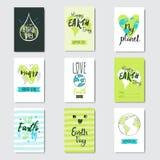 Reeks van de de Aardedag van Groetkaarten de Gebeurtenis Leuke Prentbriefkaaren van Eco met Hand het Getrokken Van letters voorzi royalty-vrije illustratie
