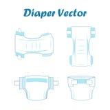 Reeks van de baby de absorberende luier Vector illustratie vector illustratie