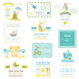 Reeks van de Babydouche en Aankomst Kaarten Stock Afbeeldingen