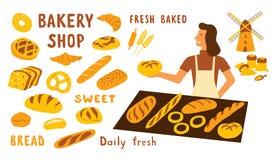 Reeks van de bakkerij de grappige krabbel Leuke beeldverhaalvrouw, de verkoper van de voedselmarkt met brood Hand getrokken vecto stock illustratie